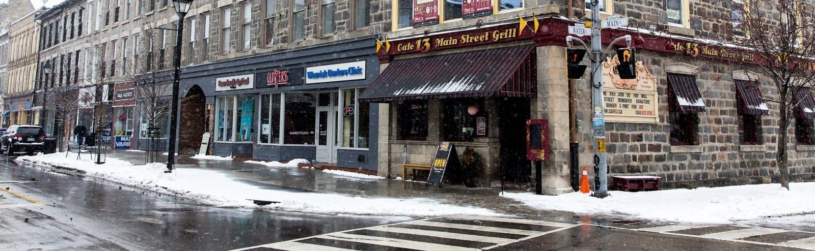 Street corner Main St. and Water St.
